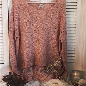 Sweaters - Pink lace sweater